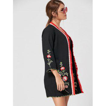 Fringed Floral Embroidered Kimono - BLACK BLACK