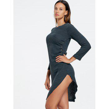 Crew Neck Asymmetrical Mini Bodycon Knit Dress - CADETBLUE M