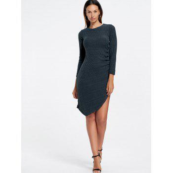 Crew Neck Asymmetrical Mini Bodycon Knit Dress - CADETBLUE CADETBLUE