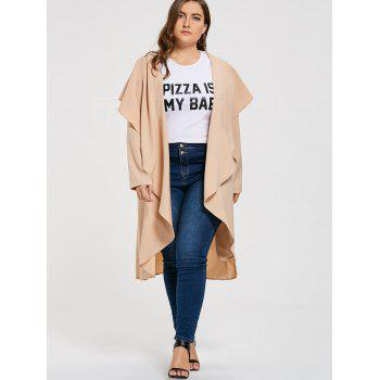 Plus Size Open Maxi Drape Coat - LIGHT BEIGE LIGHT BEIGE