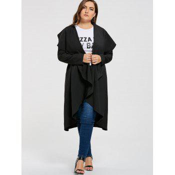 Plus Size Open Maxi Drape Coat - BLACK BLACK
