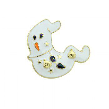 Halloween Star Pumpkin Ghost Brooch - Or