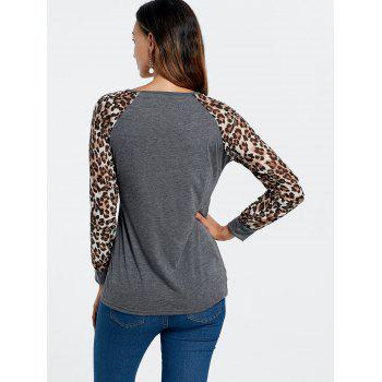 Trendy Leopard Print Long Sleeve Baseball T-Shirt For Women - DEEP GRAY L