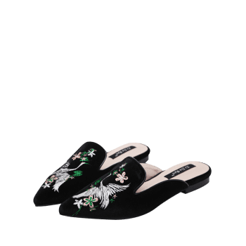 Embroidery Velvet Pointed Toe Slippers - BLACK BLACK