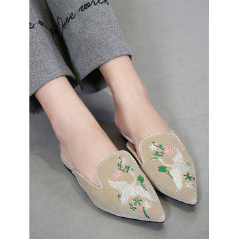 Embroidery Velvet Pointed Toe Slippers - APRICOT APRICOT