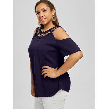 Cold Shoulder Lace Panel Plus Size Blouse - DEEP PURPLE 3XL