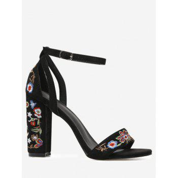 Ankle Strap Block Heel Embroidered Sandals - BLACK BLACK