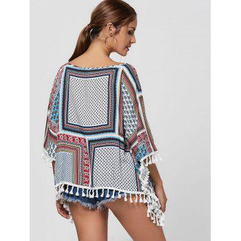 Batwing Sleeve Fringed Blouse - COLORMIX M