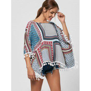 Batwing Sleeve Fringed Blouse - COLORMIX XL