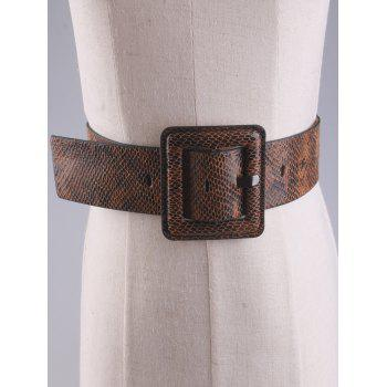 Rectangle Pin Buckle Snakeskin Faux Leather Belt -  BROWN