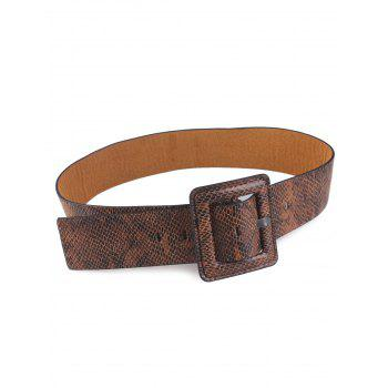Rectangle Pin Buckle Snakeskin Faux Leather Belt - BROWN BROWN