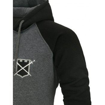 Color Block Fleece Zip Up Hoodie - DEEP GRAY M
