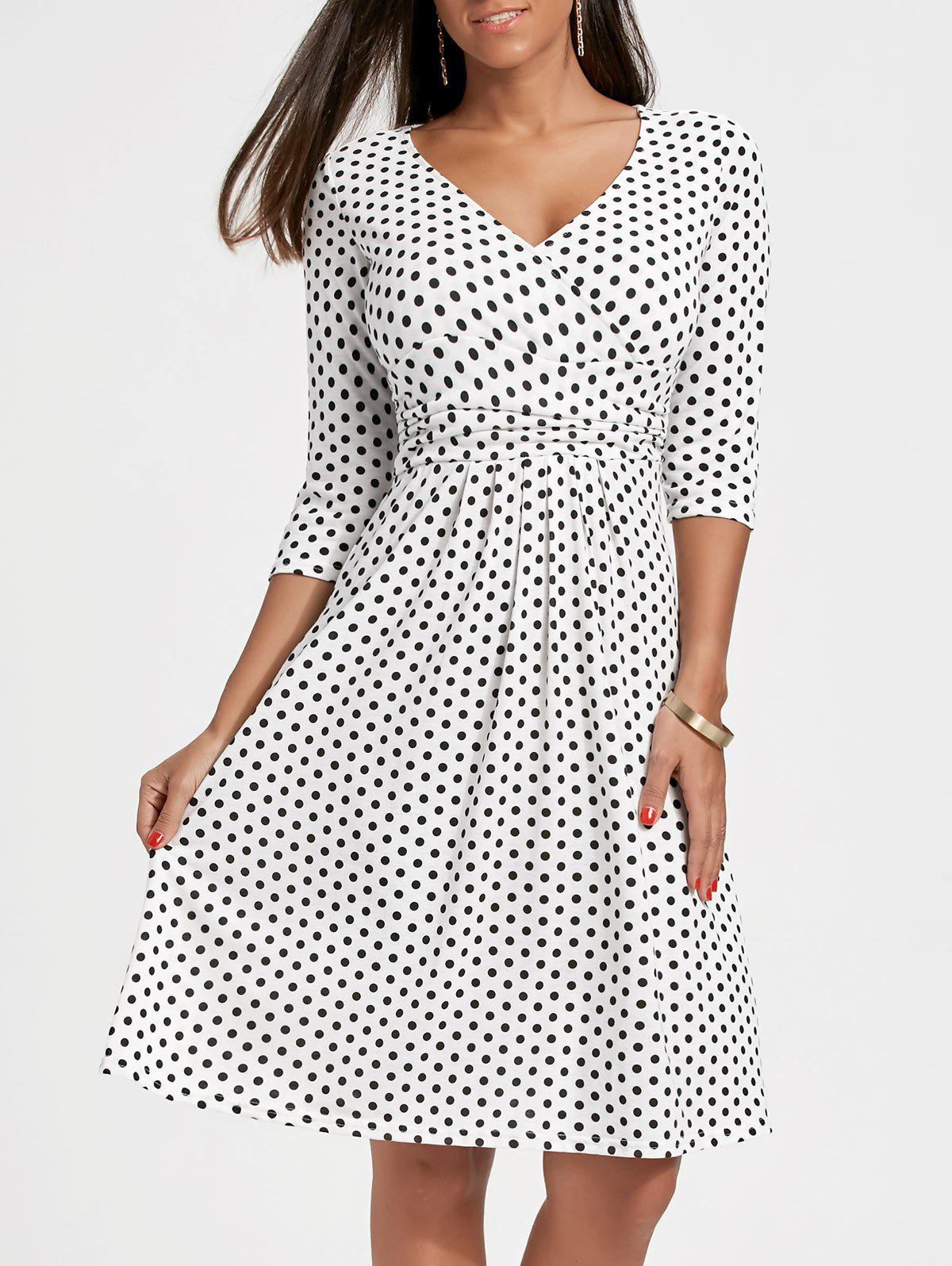 Polka Dot V Neck A Line Dress - WHITE L