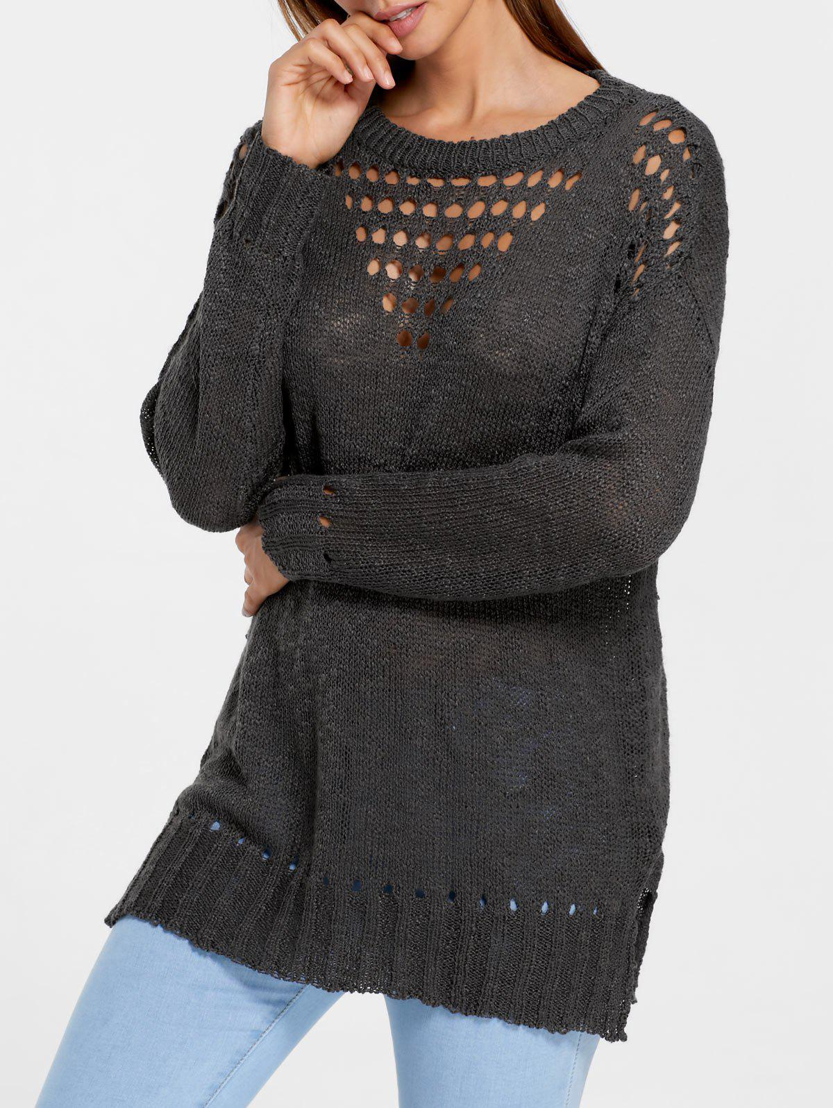 2018 Side Slit Hollow Out Tunic Sweater DEEP BROWN M In Sweaters ...