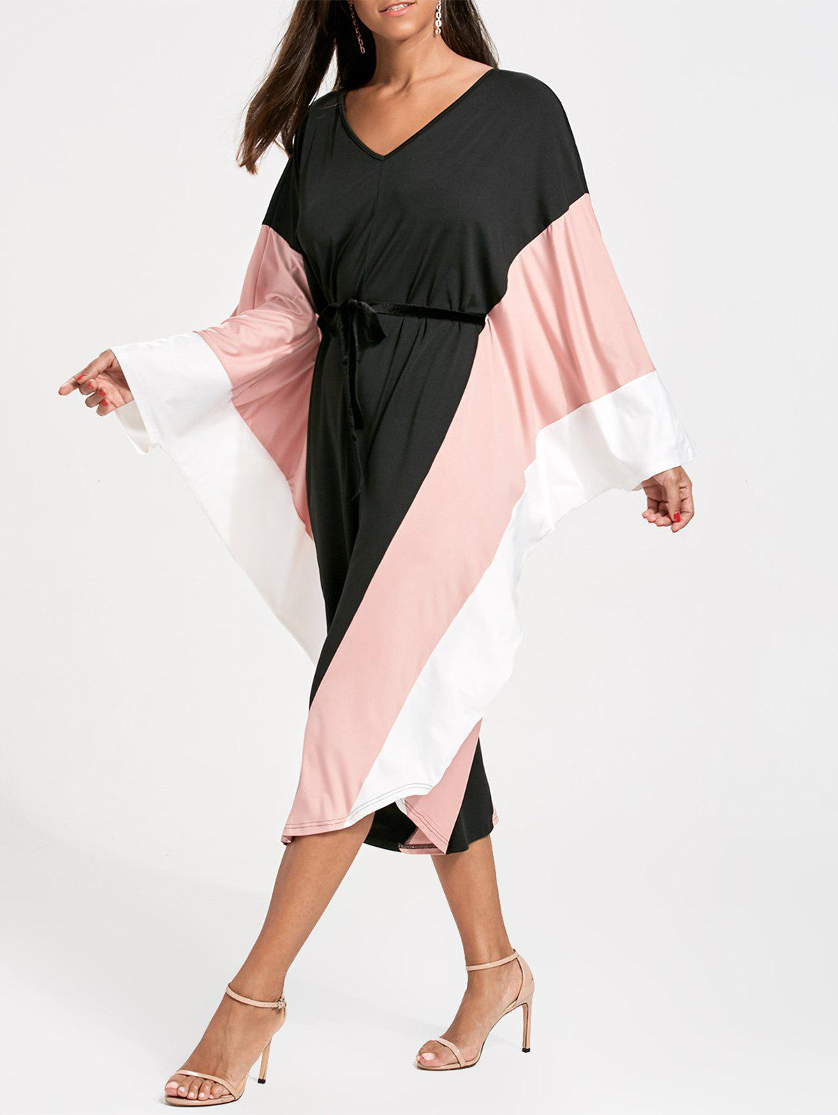 Batwing Sleeve Cut Out Wide Leg Jumpsuit - BLACK ONE SIZE