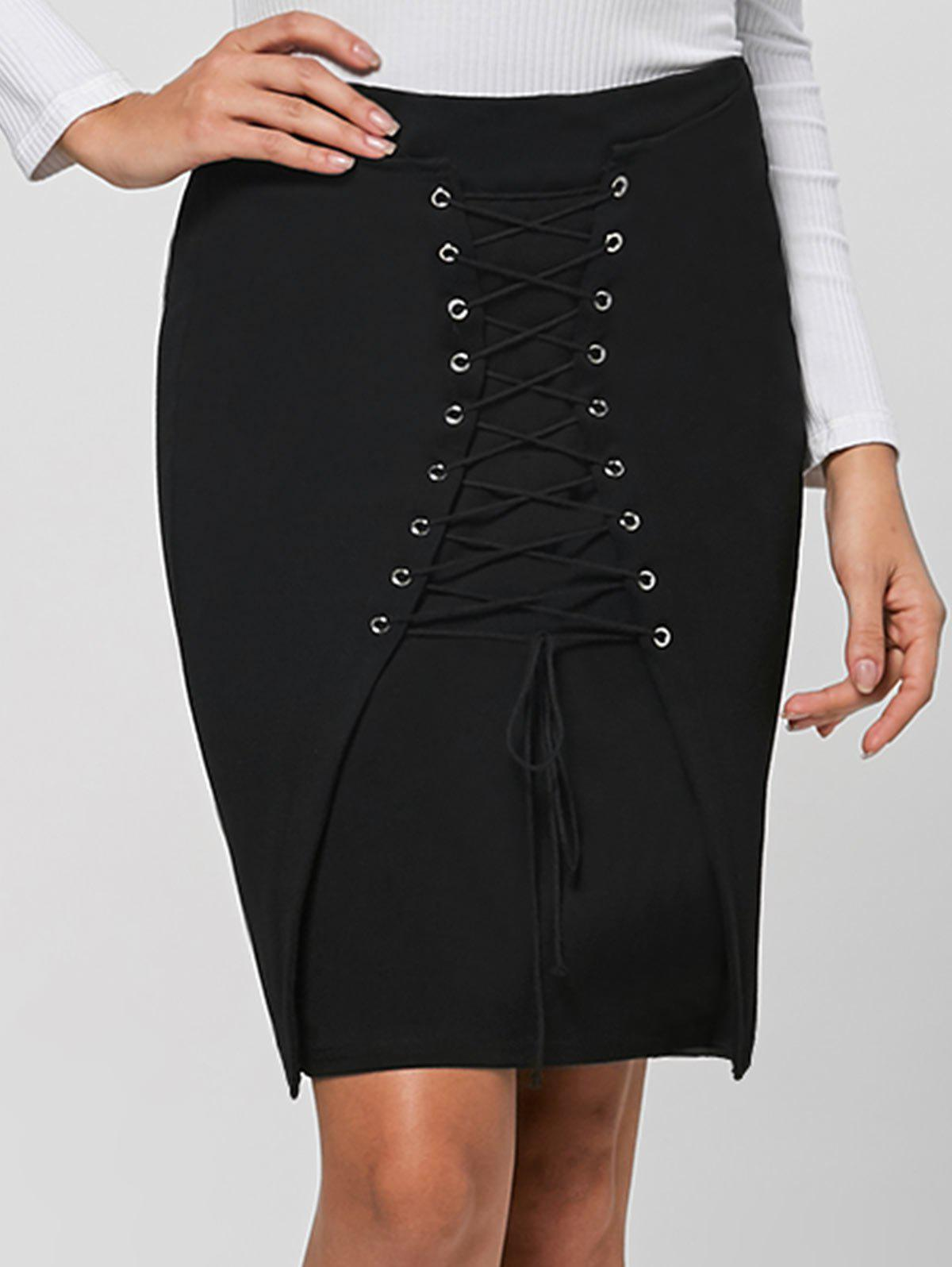 Lace Up Bodycon Skirt - BLACK L