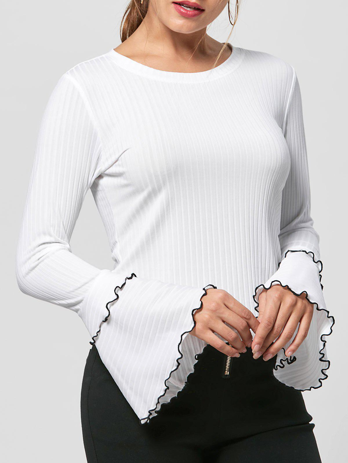 Knit Striped Layered Flare Sleeve Top - WHITE L