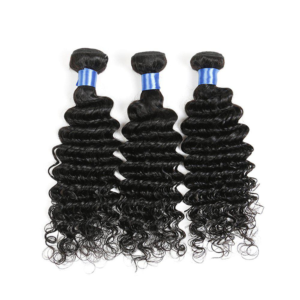 1Pc Long Deep Wave Indian Human Real Hair Weave - NATURAL BLACK 18INCH