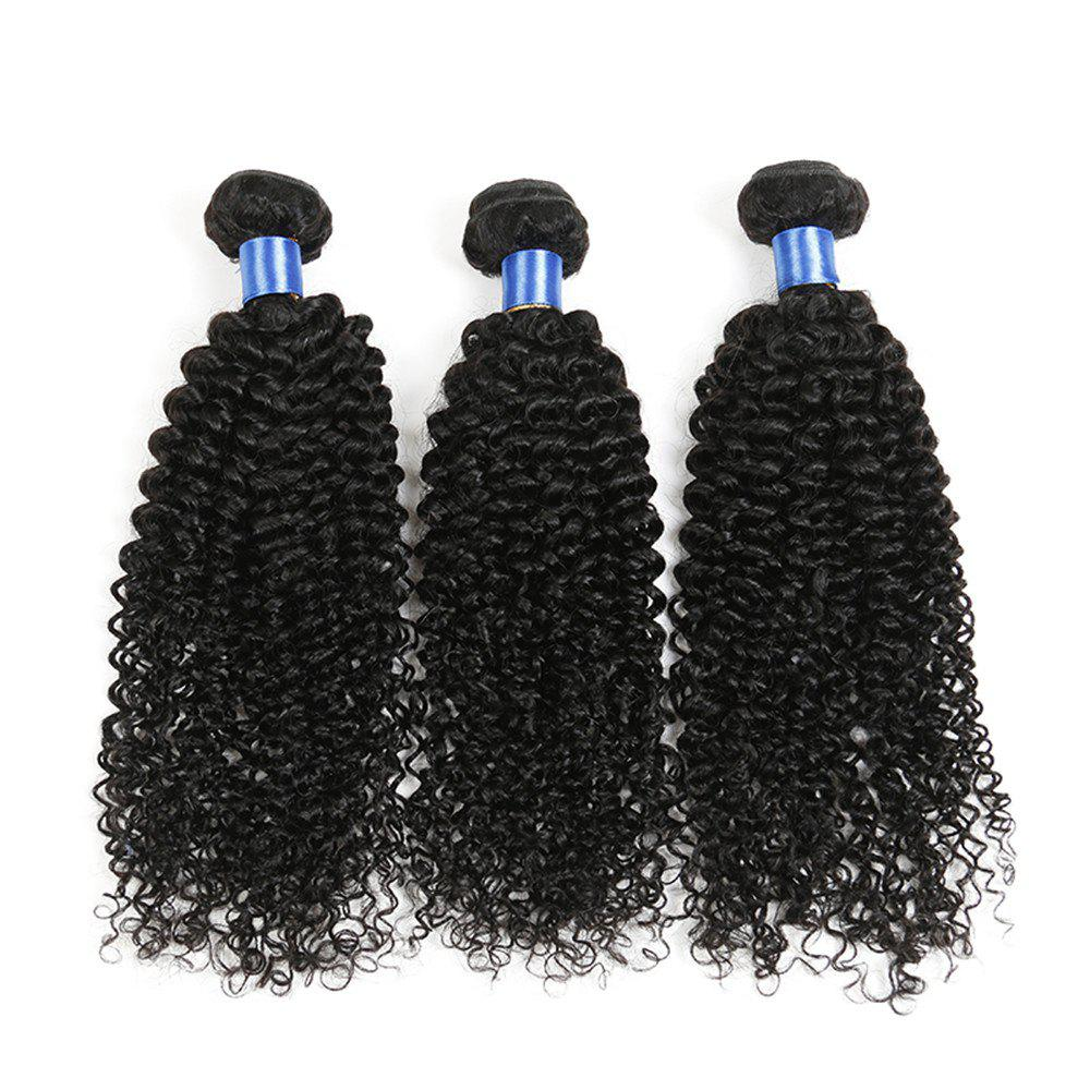 1Pc Indian Long Jerry Curl Human Hair Weave - NATURAL BLACK 18INCH