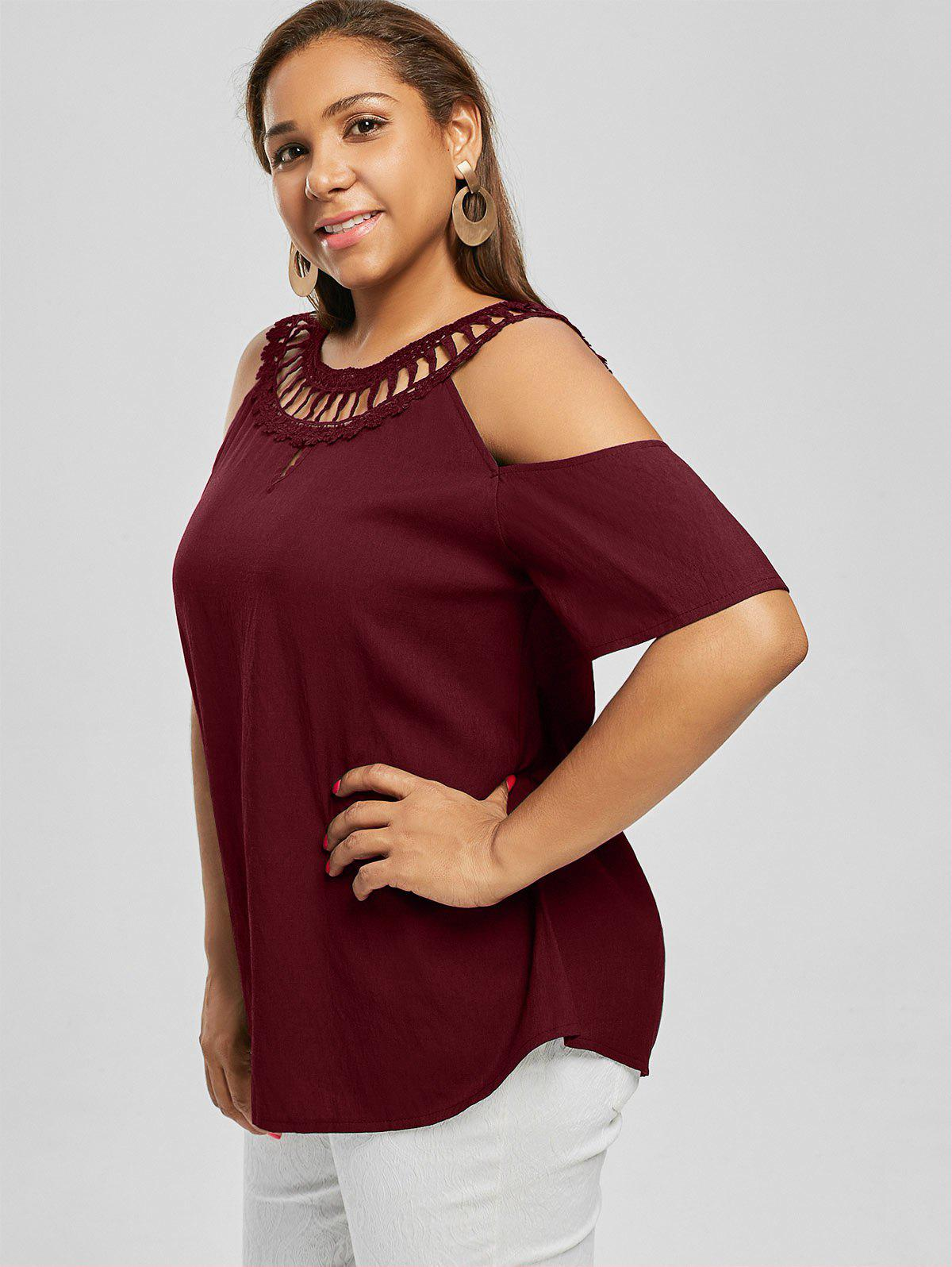 Cold Shoulder Lace Panel Plus Size Blouse - WINE RED 4XL