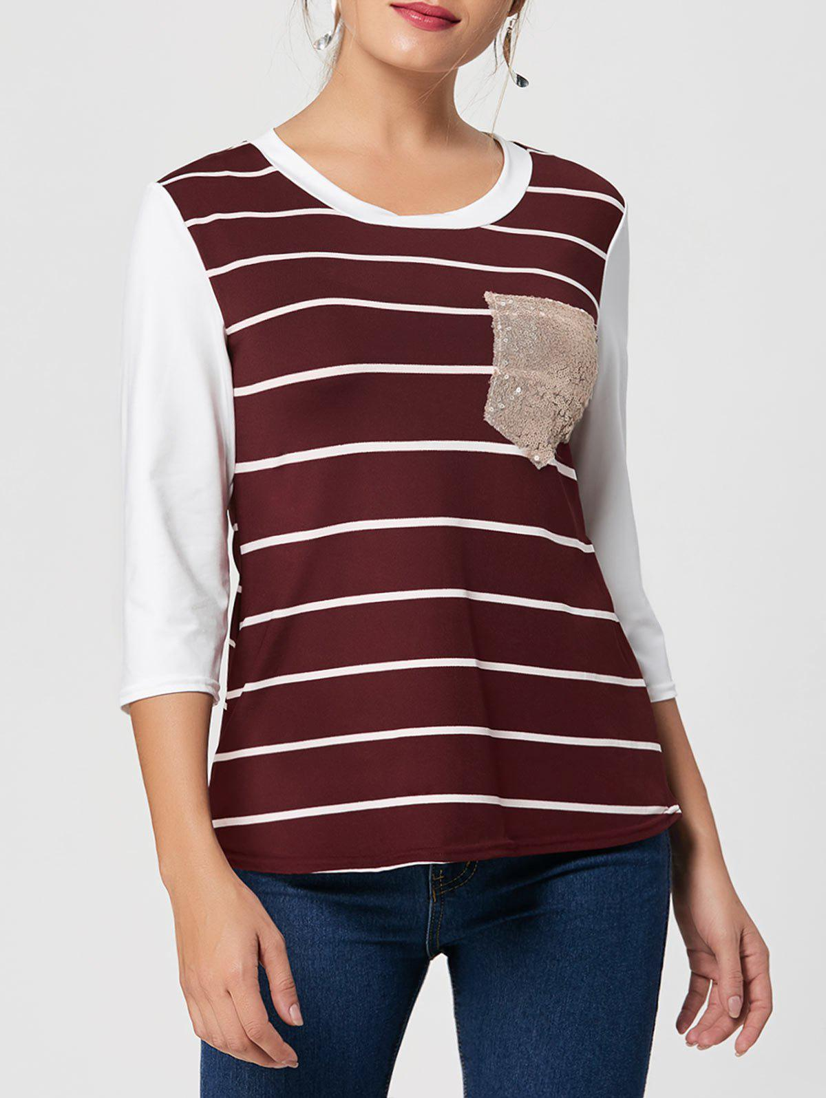 Sequin Pocket Striped Tee - WINE RED 2XL