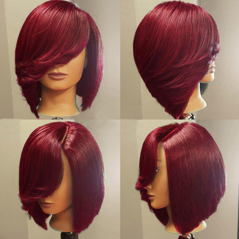 Deep Side Upward Part Straight Short Inverted Bob Synthetic Wig - WINE RED
