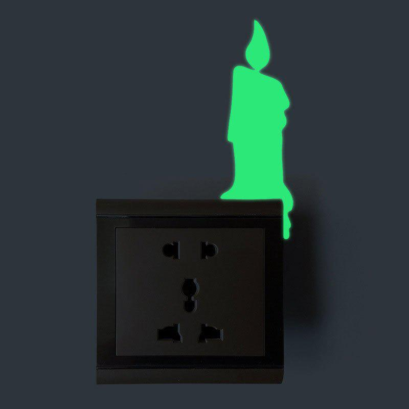 Luminous Candle Shape Switch Wall Sticker - Vert