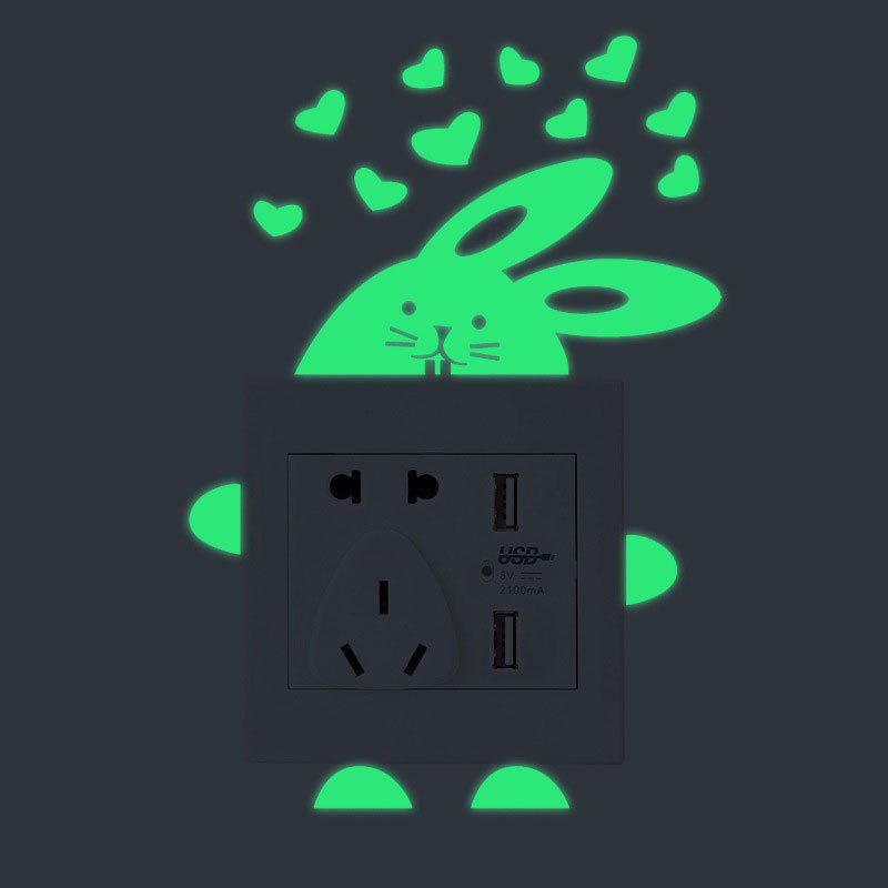 Cartoon Rabbit Shape DIY Luminous Switch Wall Stickers - Vert