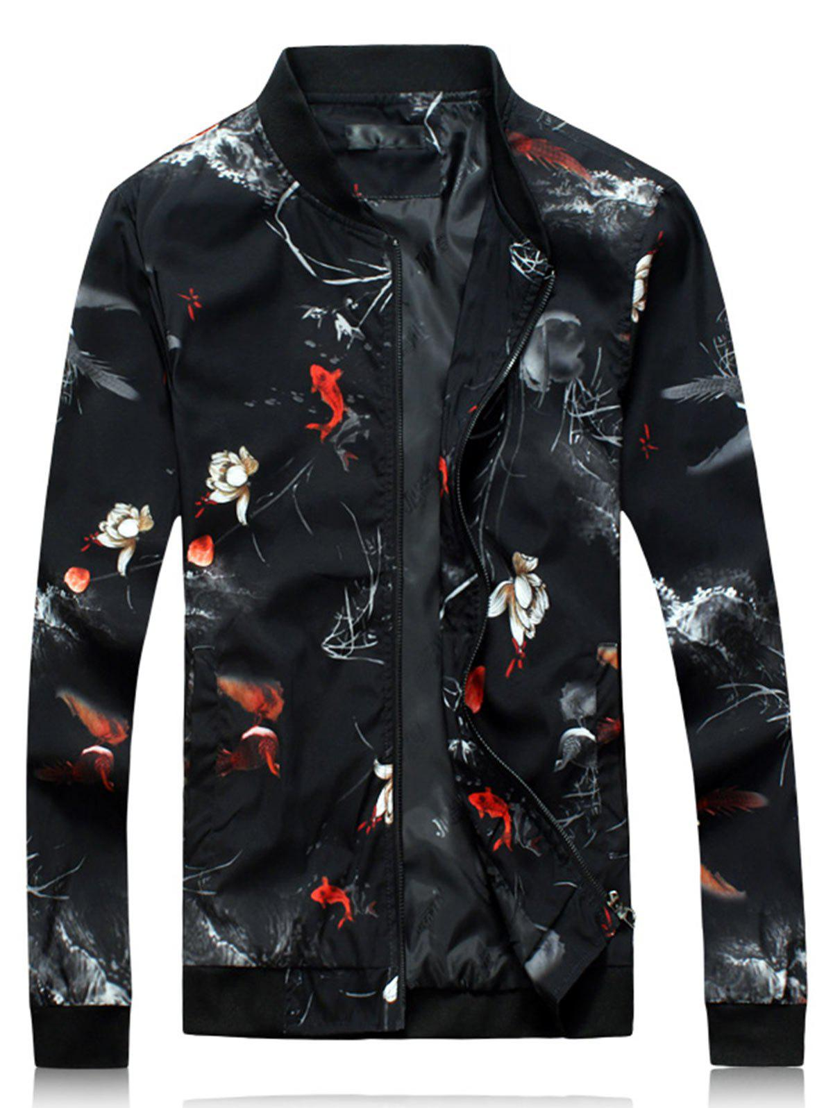 Zip Up 3D Floral Print Jacket leopard floral print zip up jacket