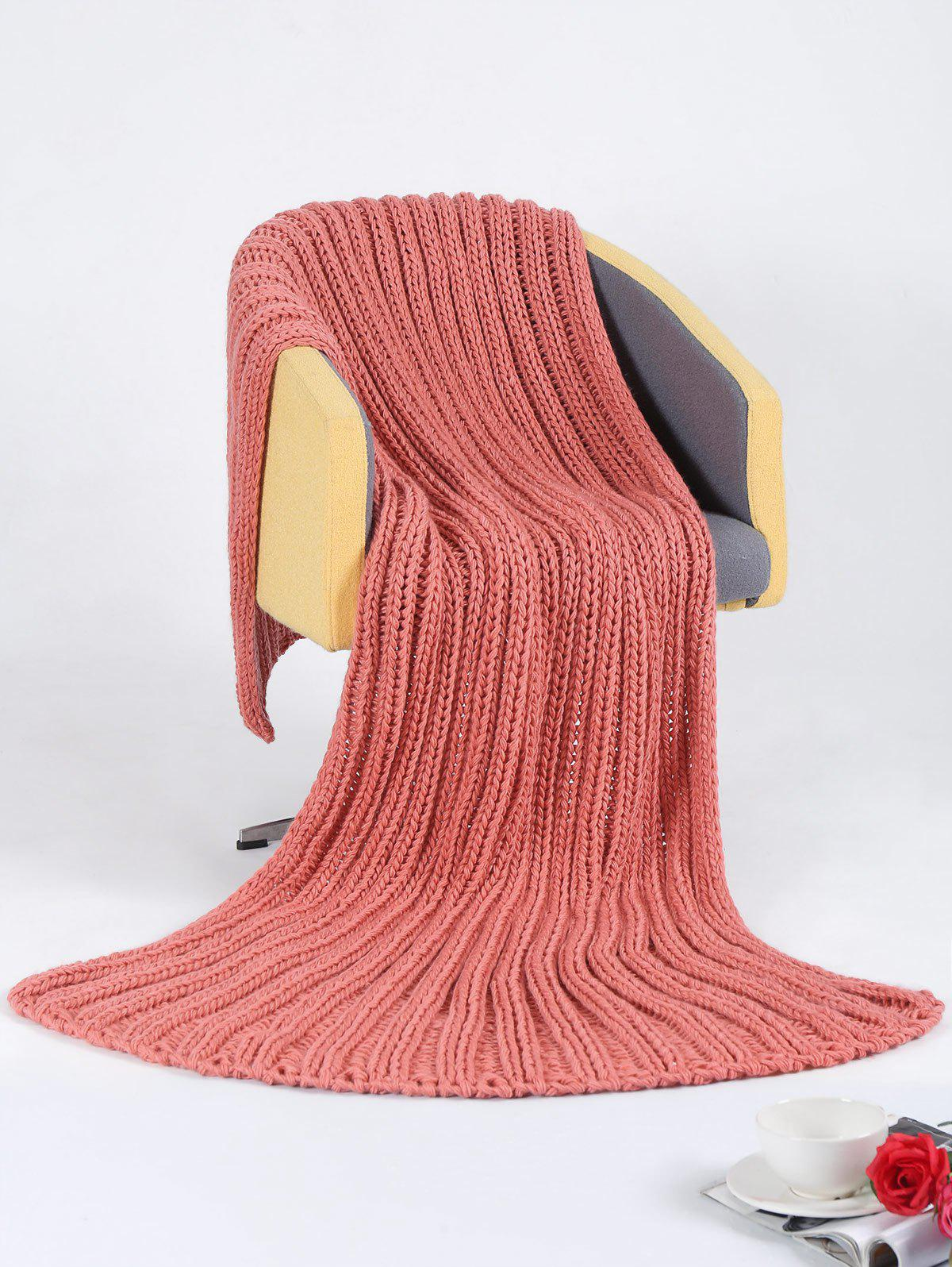 Super Soft Chunky Knitted Throw Blanket - PEACH RED 116*200CM