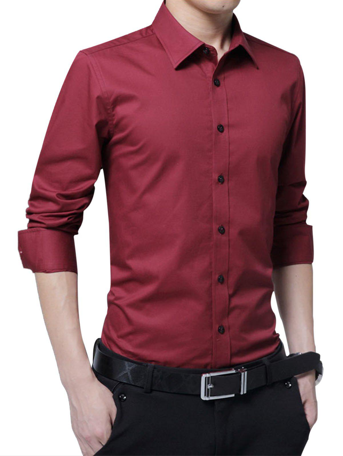 Long Sleeve Easy Care Shirt - WINE RED M