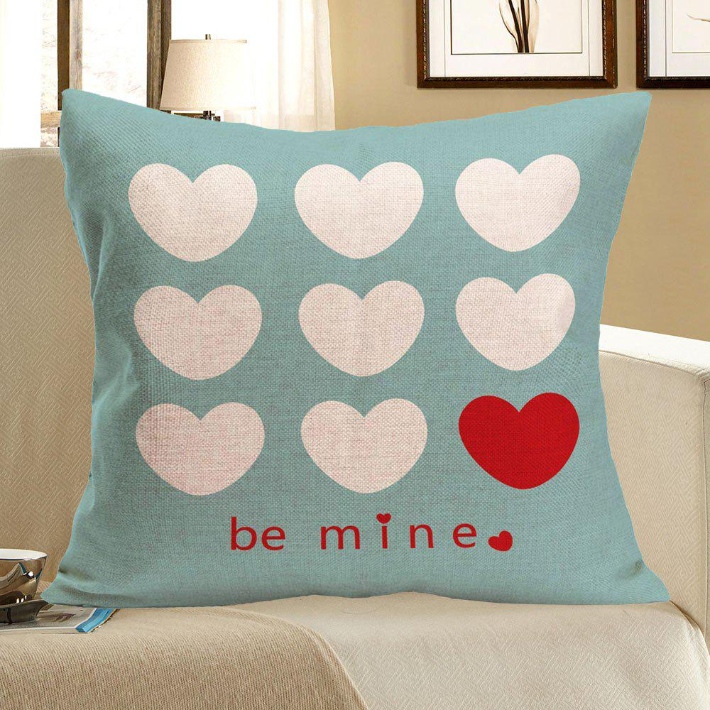 Heart Printed Linen Pillow Case - COLORFUL W18 INCH * L18 INCH