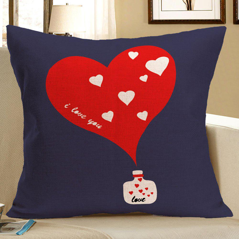 Linen Heart Pattern Square Pillow Case - RED W18 INCH * L18 INCH