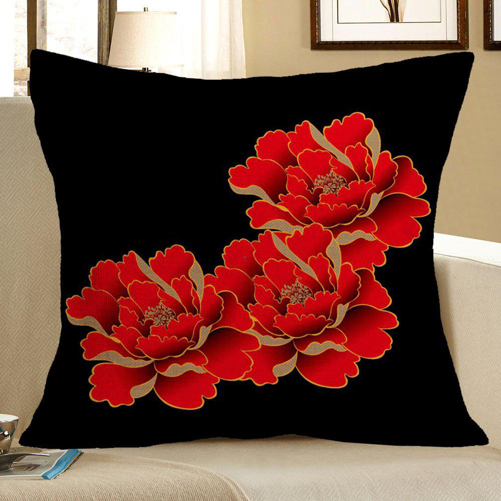 Red Peony Pattern Linen Decorative Pillow Case - RED/BLACK W18 INCH * L18 INCH