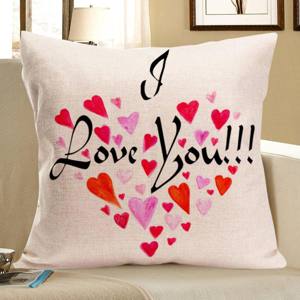 Love Words Heart Printed Linen Square Pillow Case    - RED W18 INCH * L18 INCH