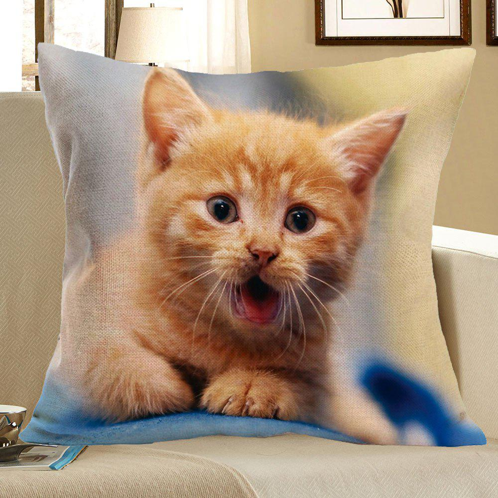 Cat Pattern Linen Decorative Pillow Case - LIGHT YELLOW W18 INCH * L18 INCH