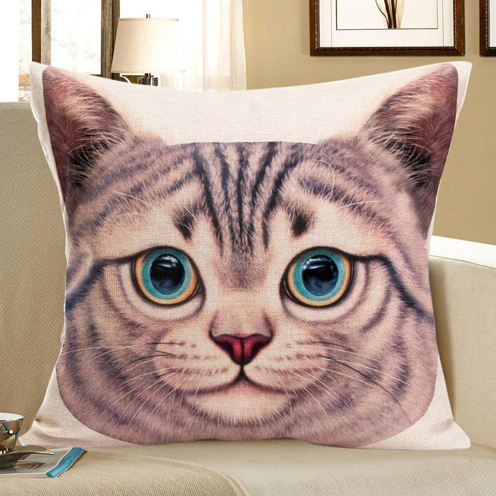 Cat Head Printed Linen Decorative Pillow Case - SANDY BEIGE W18 INCH * L18 INCH