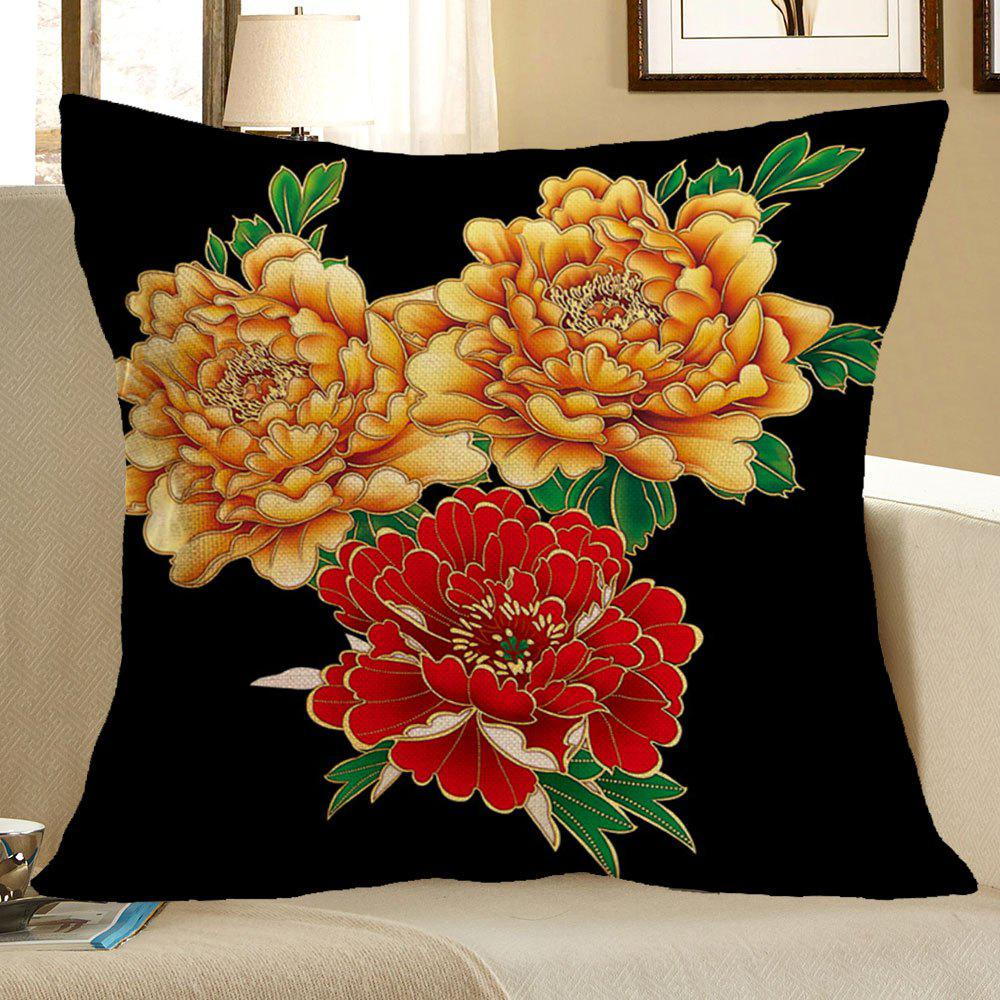 Peony and Leaf Pattern Decorative Pillow Case - COLORFUL W18 INCH * L18 INCH