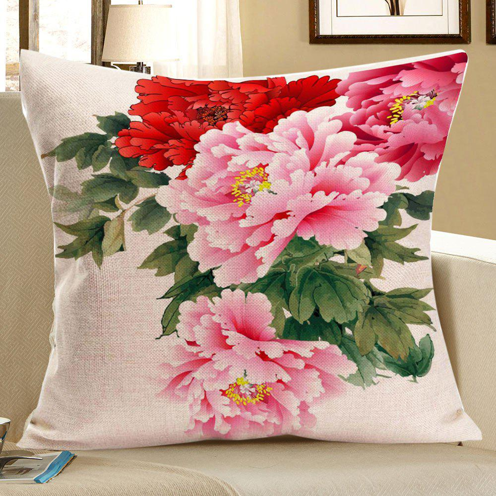 Colorful Peony Pattern Square Pillow Case - COLORFUL W18 INCH * L18 INCH