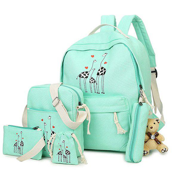 5 Pieces Animal Printed Canvas Backpack Set - LIGHT GREEN