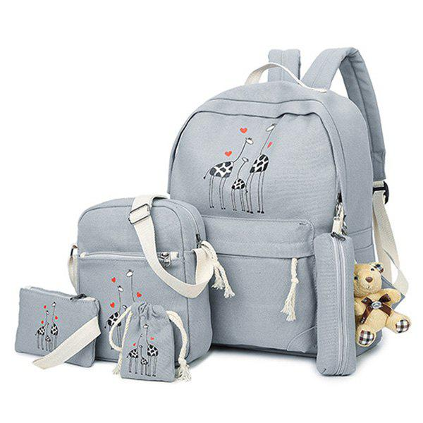 5 Pieces Animal Printed Canvas Backpack Set - GRAY