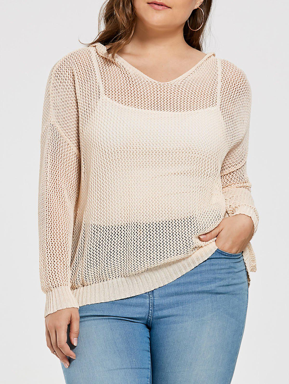 2017 Plus Size Sheer Crochet Knit Hooded Sweater OFF WHITE ONE ...