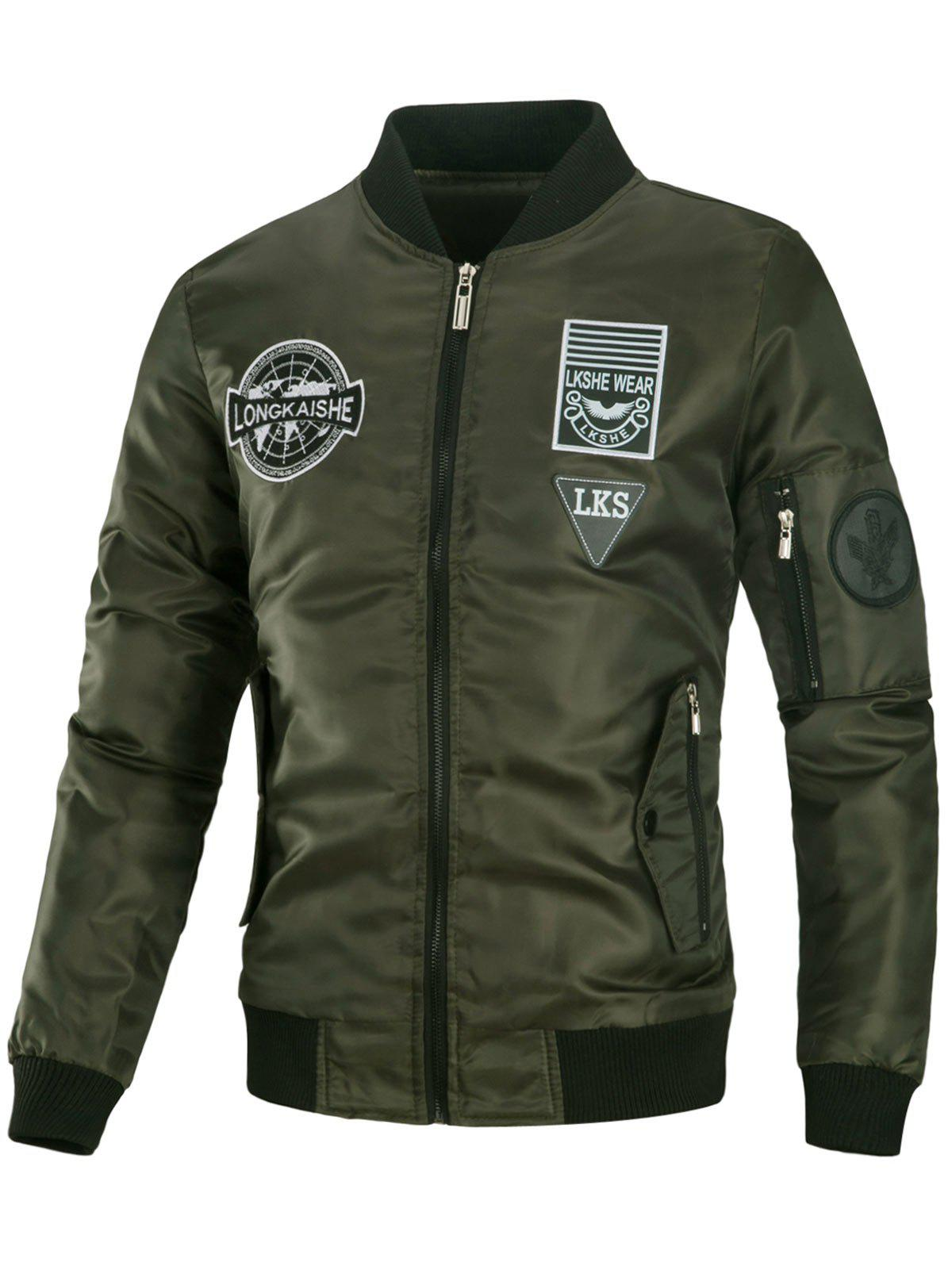 Embroidered Padded Appliques Bomber Jacket - ARMY GREEN 3XL