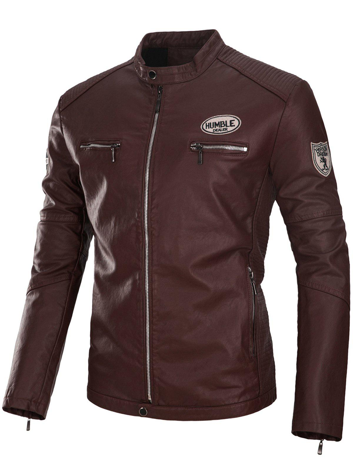 Zip Up Appliques PU Leather Jacket pu leather and corduroy spliced zip up down jacket