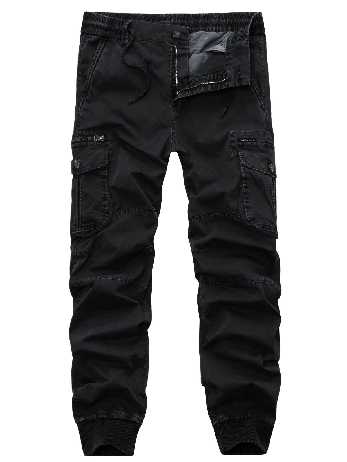 Zipper Fly Beam Feet Drawstring Cargo Pants - BLACK 34