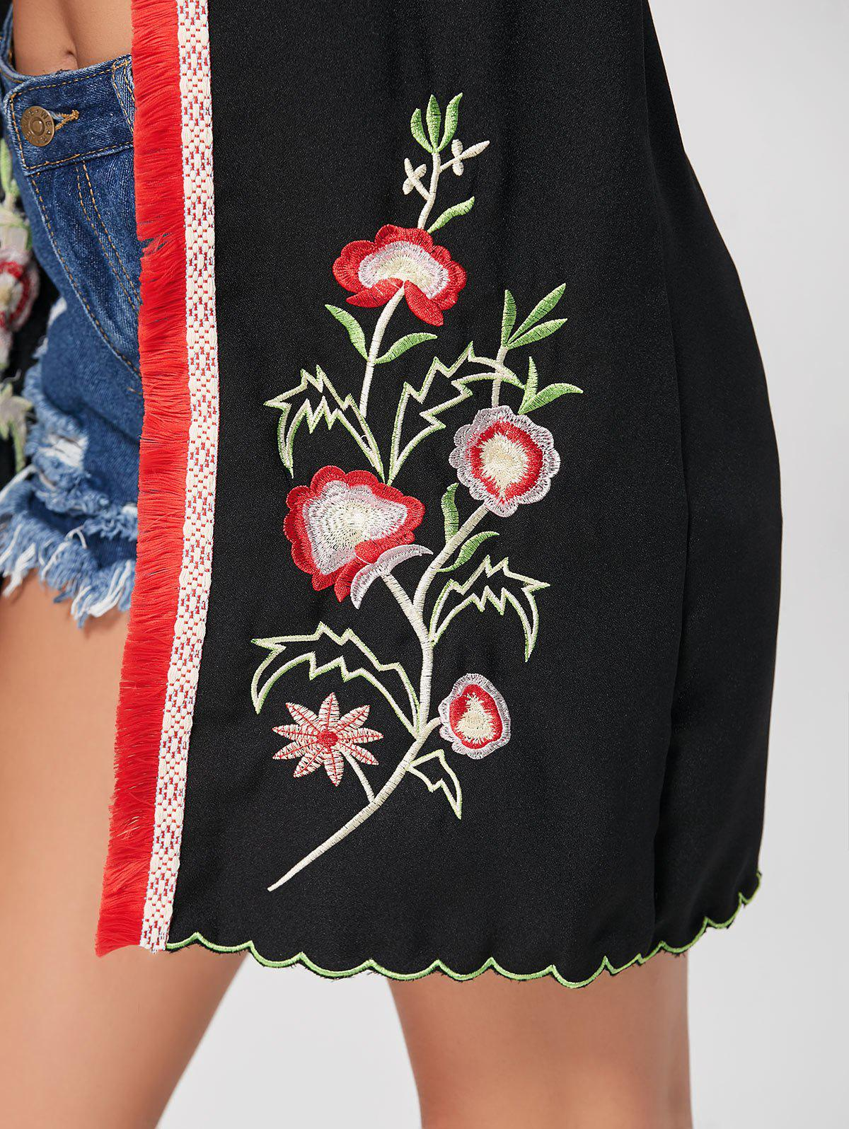 Fringed Floral Embroidered Kimono - BLACK M
