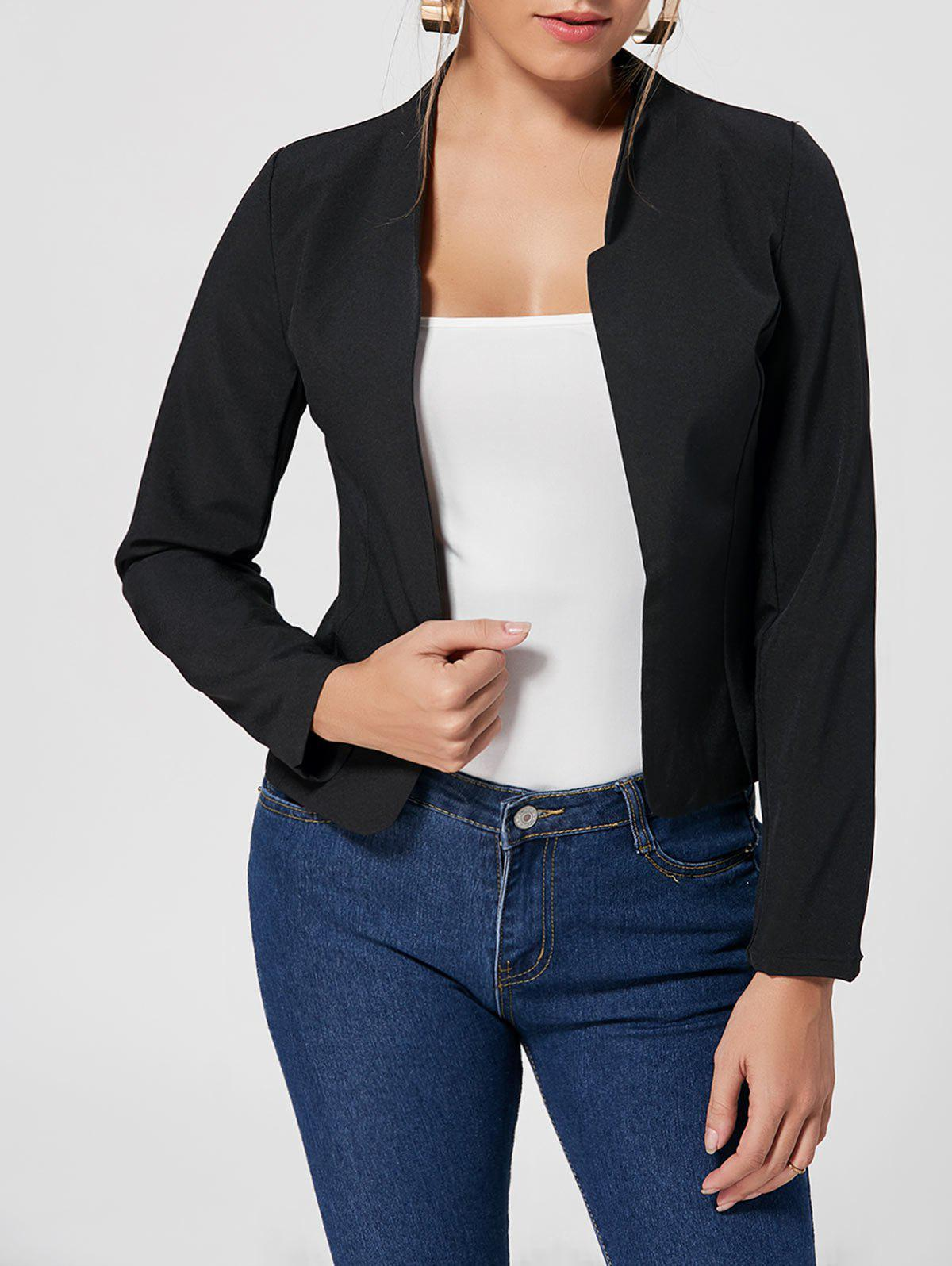 Collarless Cropped Blazer - BLACK S