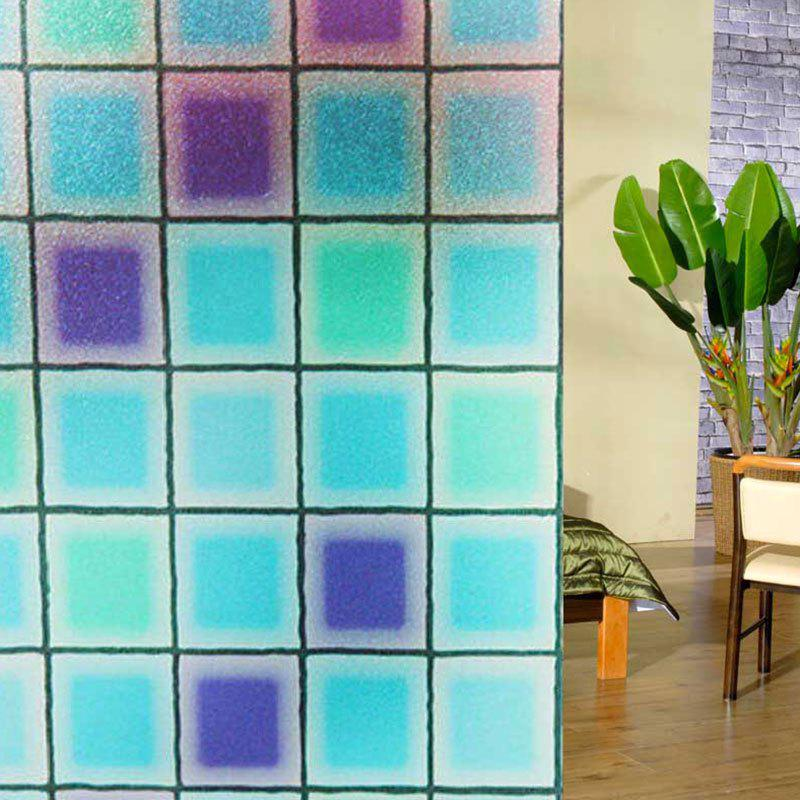 Creative PVC Electrostatic Grid Glass Wall Decal - Bleu