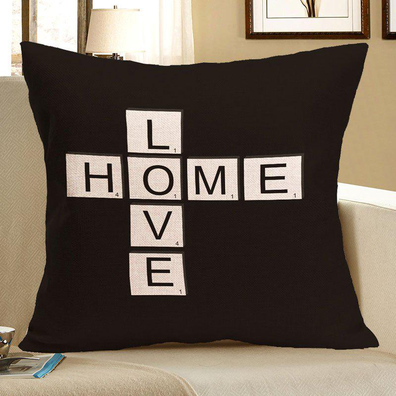 Love Home Printed Linen Decorative Pillow Case - BLACK W18 INCH * L18 INCH