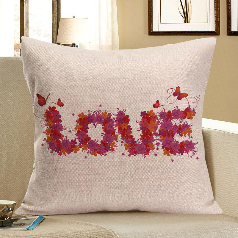 Love Flowers Printed Linen Decorative Pillow Case - BEIGE W18 INCH * L18 INCH